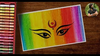How To Draw Dussehra Navratri Festival Drawing Easy Durga Drawing Oil Pastel Drawing