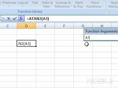 How to return the arctangent of specified co ordinates in radians using formulas