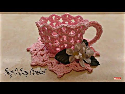 CROCHET How To #Crochet Decorative TeaCup and Saucer #TUTORIAL #331 LEARN CROCHET
