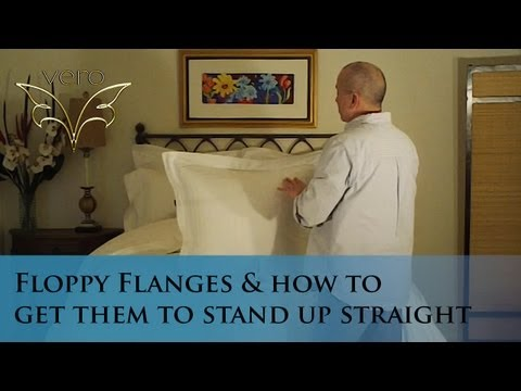How to get your floppy pillow sham flanges to set up straight! (www.verolinens.com)