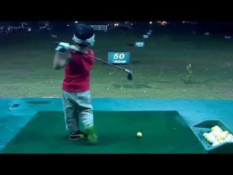 Ezekiel 3 year old golfer Hitting 7 iron on 24th May 2012