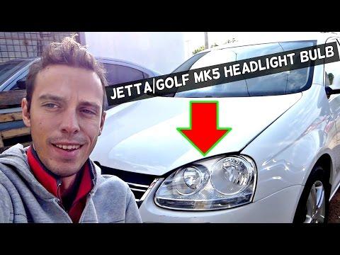 VW JETTA GOLF MK5 HEADLIGHT BULB REPLACEMENT 2006 2007 2008 2009 2010