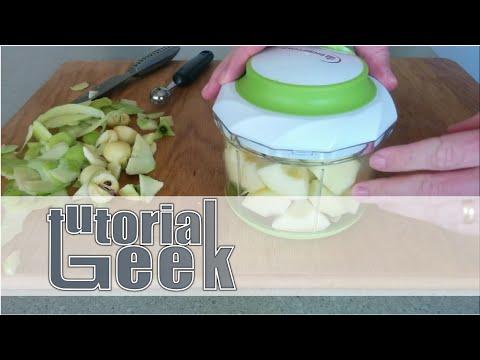 Making applesauce using a food chopper.