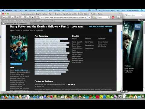 How to copy the description from iTunes Movies and TV Shows
