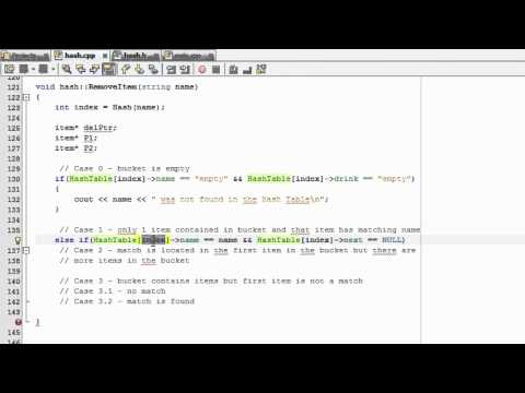 How to Create A Hash Table Project in C++ , Part 15 , Remove Item Function , Case 1