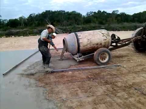 Mennonite homemade 3 bag cement mixer  sorry no clear sound on this one