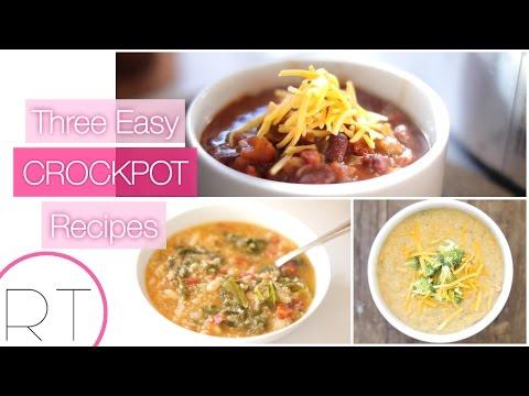 3 Easy Slow Cooker Recipes (Broccoli Cheese Soup, Veggie Chili, Quinoa Kale Soup)