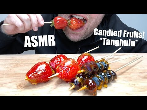 ASMR Candied Strawberry and Blueberry (Tanghulu) 糖葫芦 | LOUD CRUNCHY Eating SOUND | AuzSOME Austin