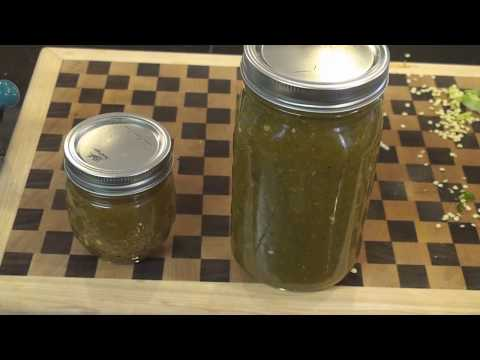 Homemade green jalapeno hot sauce