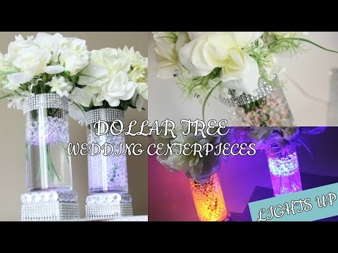 DOLLAR TREE WEDDING LIGHT UP CENTERPIECES D.I.Y