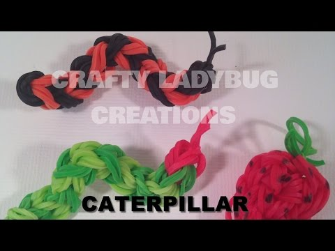 Rainbow Loom Bands Cute/Easy HUNGRY CATERPILLAR CHARM How to make by Crafty Ladybug