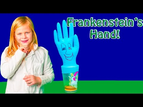 Assistant makes Frankenstein Hands in a fun Family Science Experiment