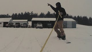 Snowboarding Behind A Snowmobile In Sub-Zero Temps Christmas 2017