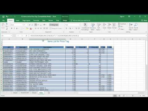 How to create price tag list in Excel for Label price tag