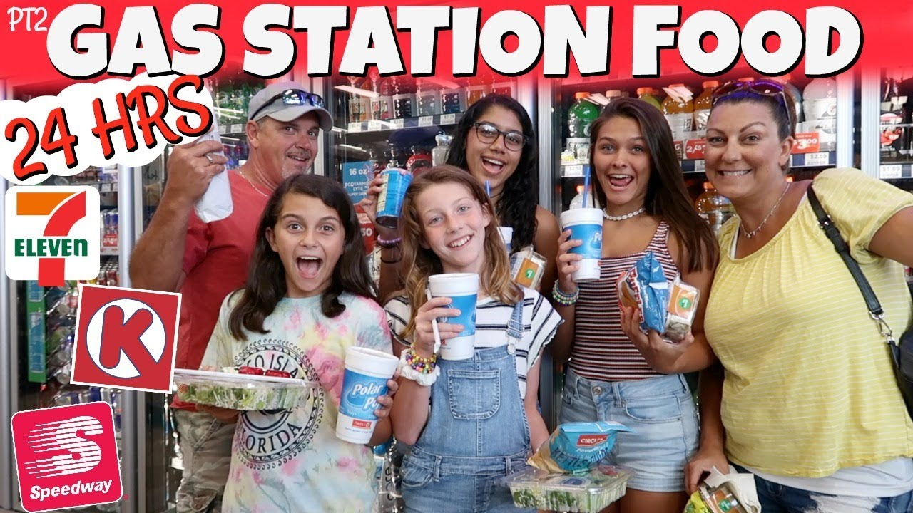 Eating Only GAS STATION Food for 24 HOURS Part 2 Emma and Ellie
