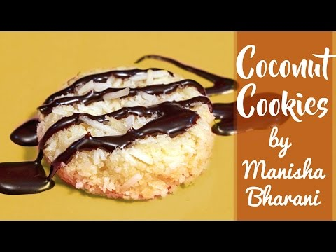 Coconut Cookies - Eggless Easy Coconut Cookies - Crispy Coconut Cookies recipe