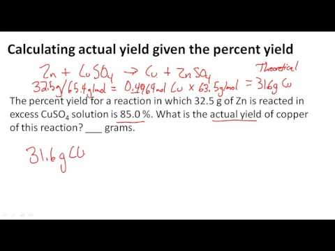 Calculating actual yield given the percent yield
