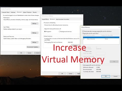 how to increase the virtual memory on windows 10 | Optimize system performance