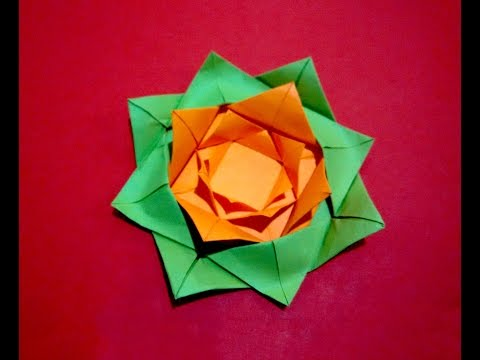 Easy paper flower. Origami rose - flower. Christmas ornament. Gift wrapping