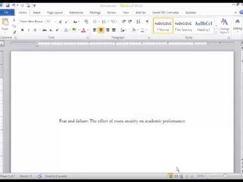 Creating an APA Title Page