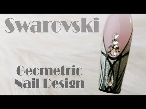 Elegant ET Nail Design | Swarovski and Metallic Silver Gel design | Art Deco Nail Art by Goda ❤️