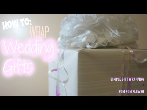 Wedding Gift Wrapping Idea : Simple wrapping + Pom Pom Flower
