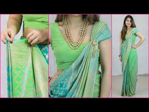 2 Mins में साड़ी की प्लेट्स और पल्लू लगाने का एकदम नया तरीका - How To Wear Saree Perfectly | Anaysa