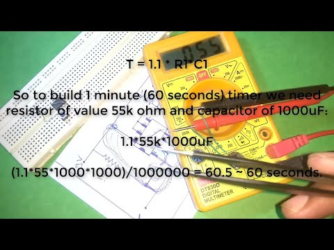 how to make 1 minute timer circuit using 555 IC