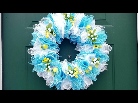 DOLLAR TREE EASTER WREATH - DECO MESH - DIY CRAFTS