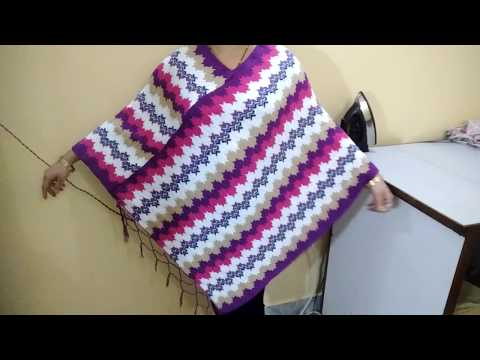 Convert Stawl/Shawl to Poncho with only one cut & two straight stitch