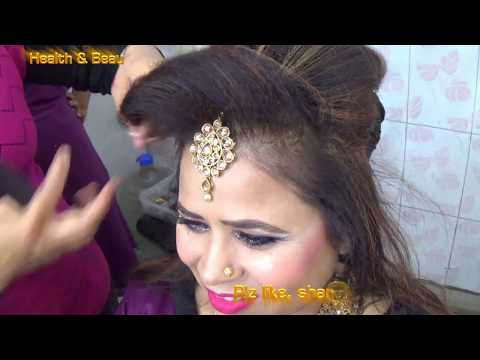 DIY - easy Juda Choti with front puff and mang tikka - add extension hairs with ready made juda