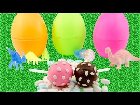 Surprise Eggs for Dinosaur Toys and Make Candy with Play Doh Creative Fun Kids