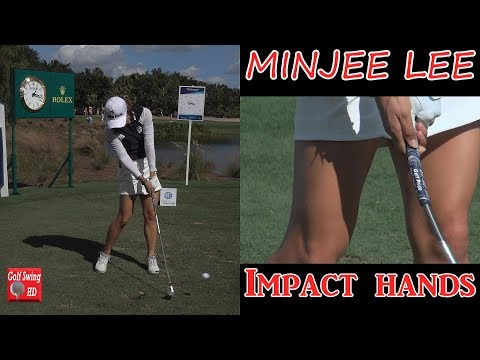 MINJEE LEE SLOW MOTION HANDS THRU IMPACT FACE ON IRON GOLF SWING 1080 HD