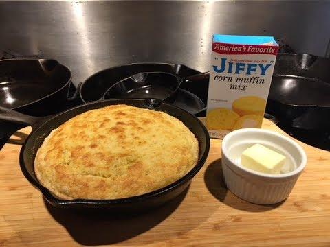 Jiffy cornbread with banana  - cast iron skillet - how to make jiffy cornbread