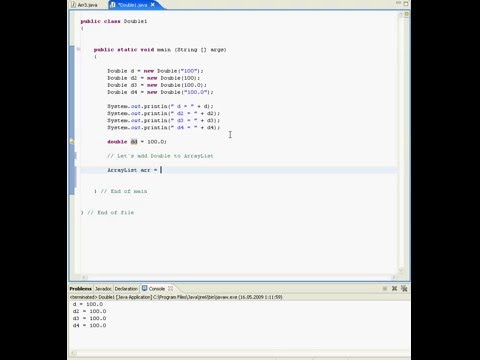 Java tutorial in Eclipse (wrapper class Double)