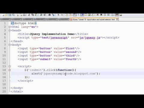 JQuery Tutorial 18 - input button and submit selector with an example