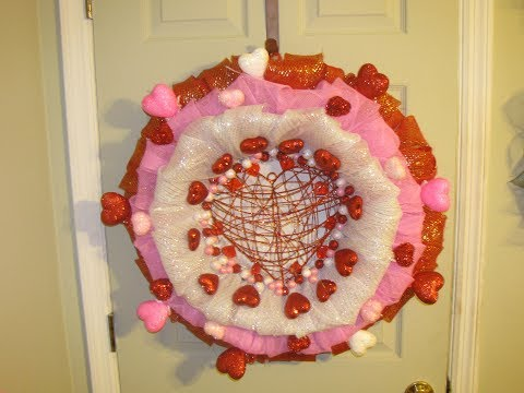 How To Make Carmen's Three Layer Deco Mesh Valentine's Day Bubble Wreath