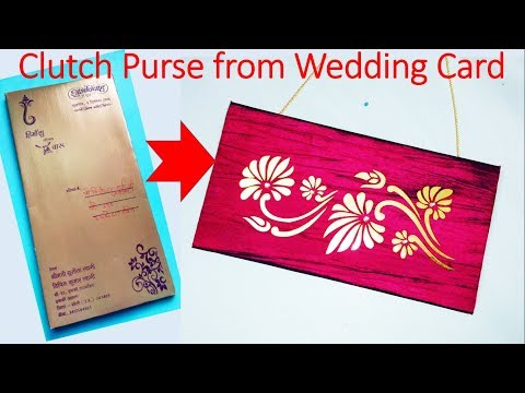 Recycling Old Wedding card to Beautiful Clutch Purse || Waste Material Crafts