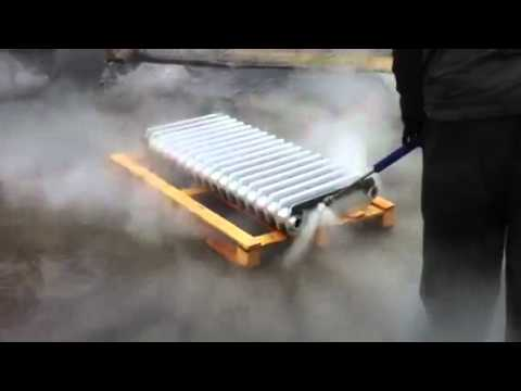 Aqua Blaster demonstration - clean cleaning enamel from a radiator