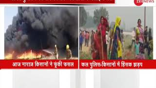 Watch: Unnao farmers set crops to fire
