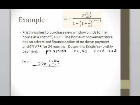 Math 120, Section 10.4, Installment Payment Formula Example