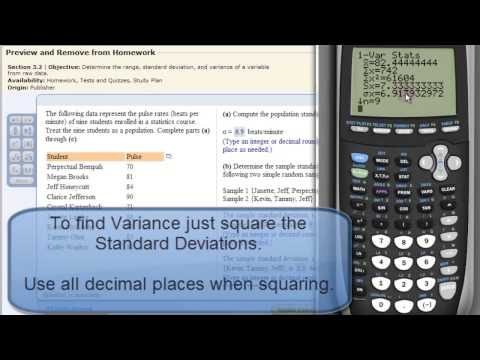 Mean and Standard Deviation (Variance also) on TI83 or TI84 Calculator