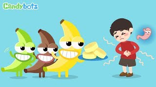 Candybots Fruits Song - Learn Banana, Apple, Orange funny - Education app for Kids