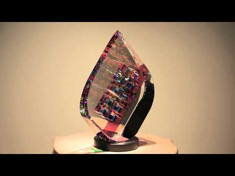 Rose/Green TierDrop - Glass Sculpture by Jack Storms