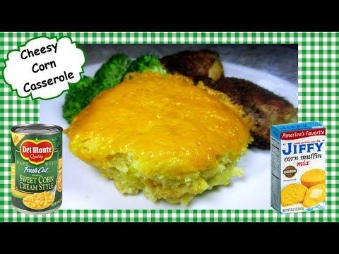 Easy Cheesy Baked Corn Casserole ~ Jiffy Corn Casserole Side Dish Recipe
