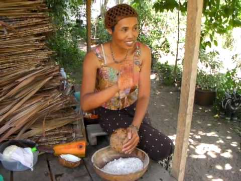 How to Shred Fresh Coconut & Make Coconut Milk for Raw Food Salads & Recipes