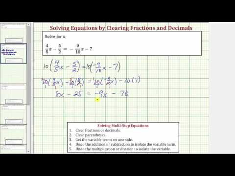 Solve an Equation with Fractions and Variables on Both Sides (Clear Fractions)