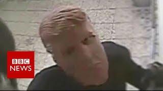 Robbers in Donald Trump masks blow up cash machine - BBC News