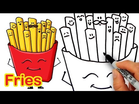 How to Draw Cartoon Fries Cute and Easy