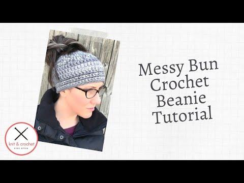 Crochet Messy Bun Beanie Hat ~ Super Easy 2 Hour Beanie